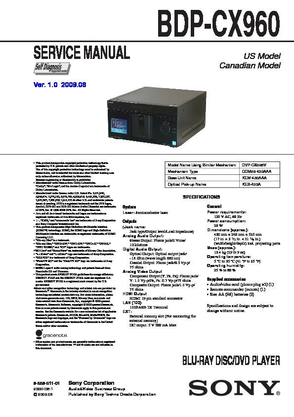 sony blu ray disc player manual