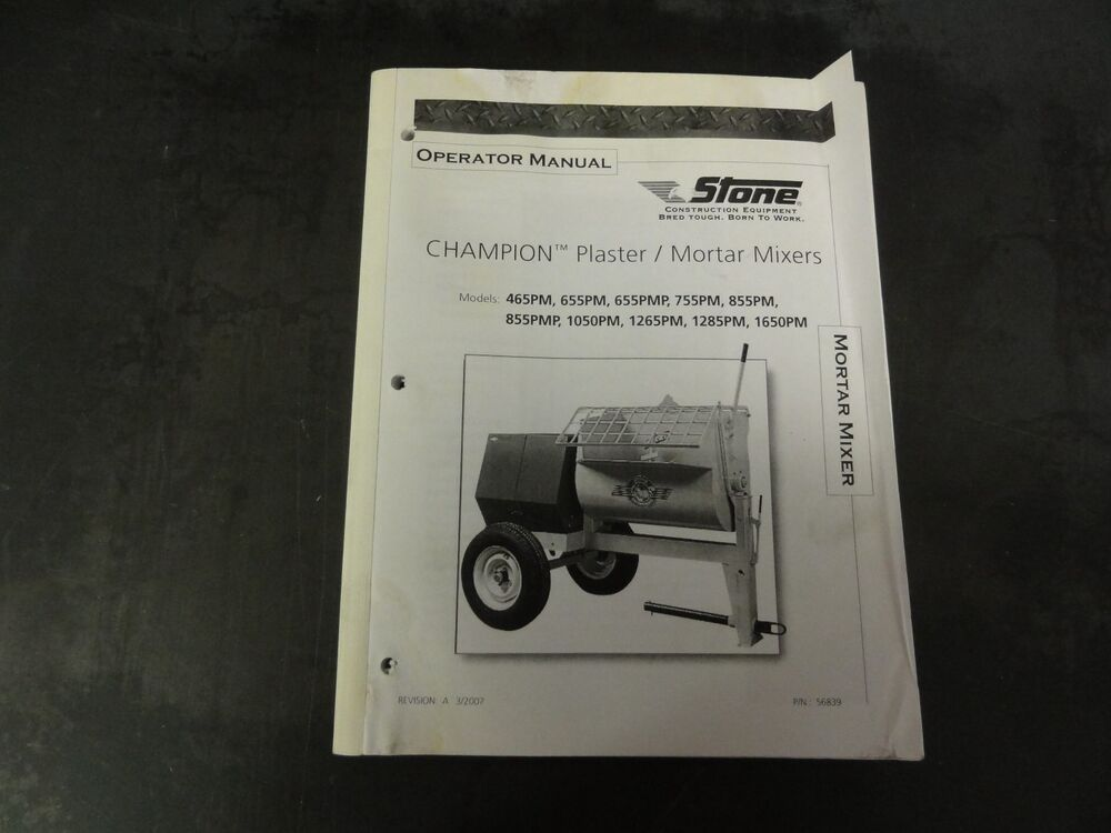 whiteman mortar mixer parts manual