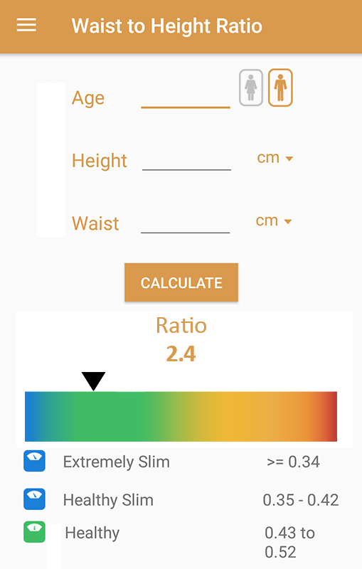 how to calculate waist to height ratio manually