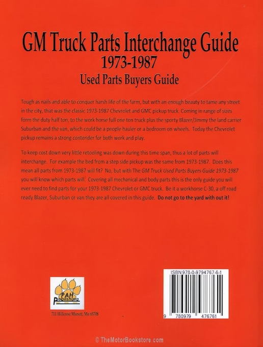 1973 1987 gmc and chevy truck parts interchange manual