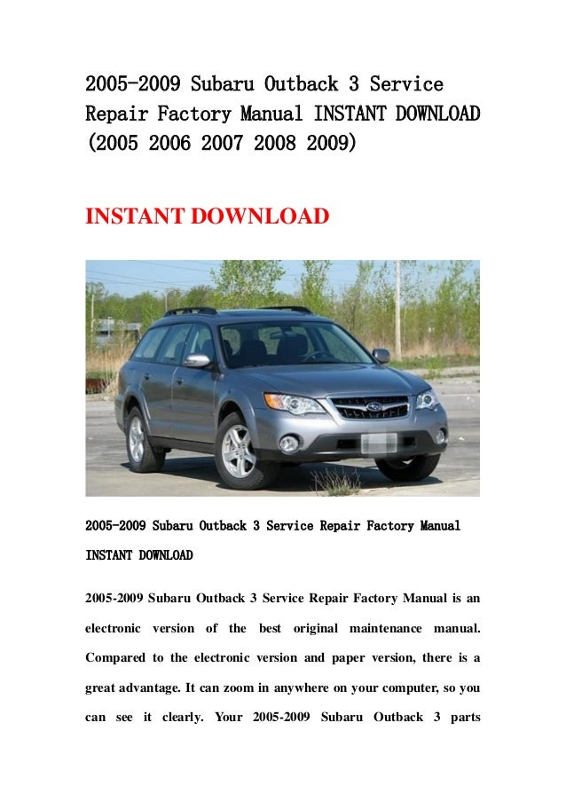 2011 subaru outback factory service manual