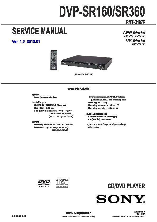 sony dvd player dvp sr510h manual