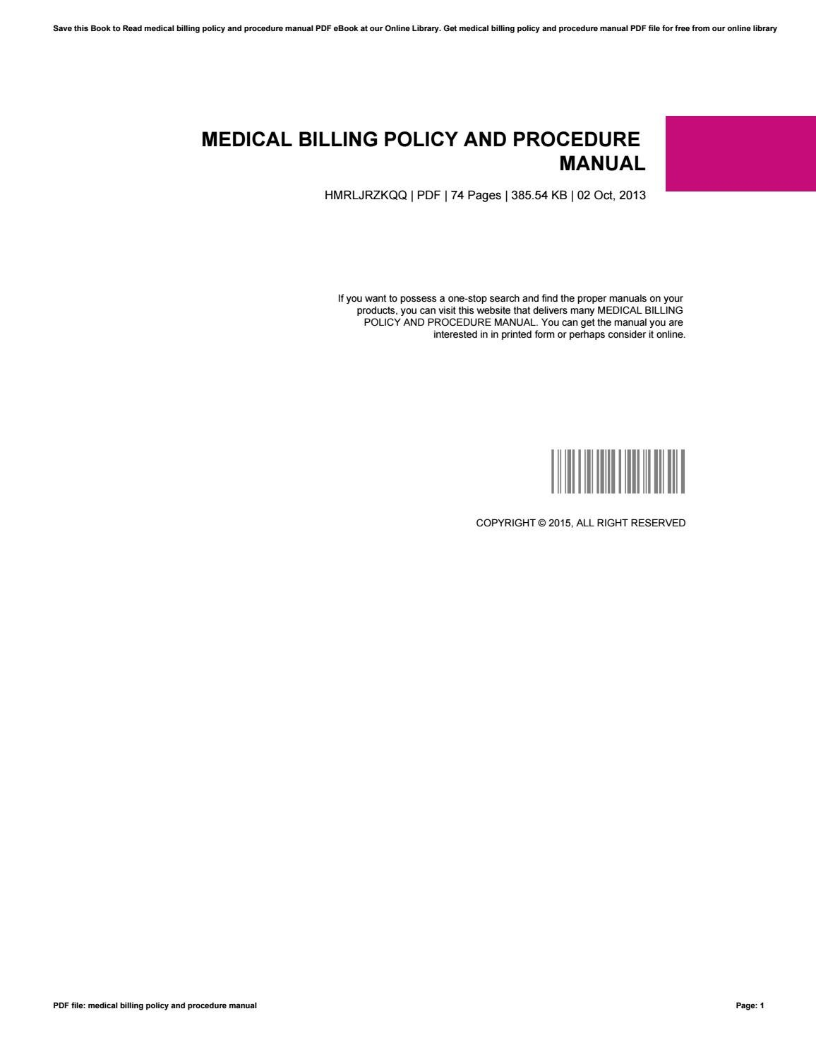 medical records policy and procedure manual