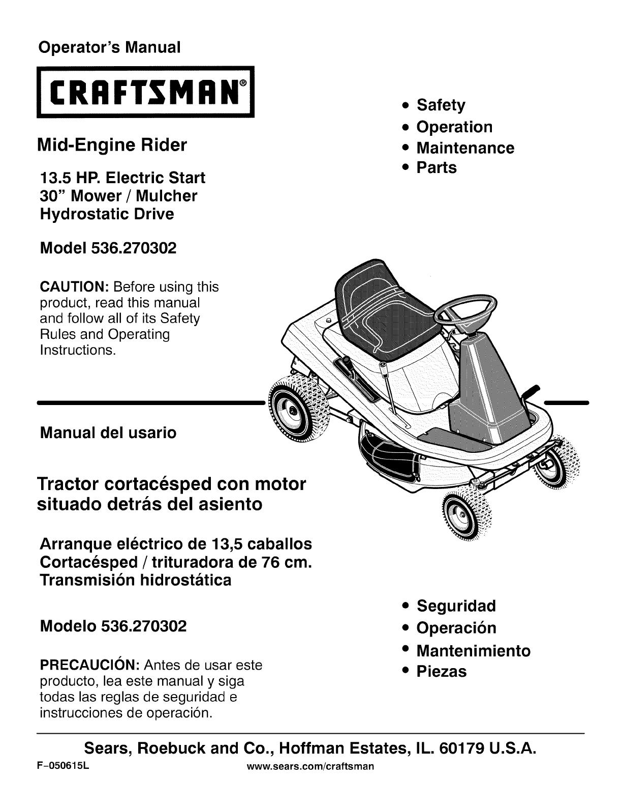 craftsman lawn mower instruction manual