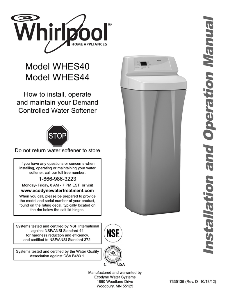 whirlpool water softener manual whes44