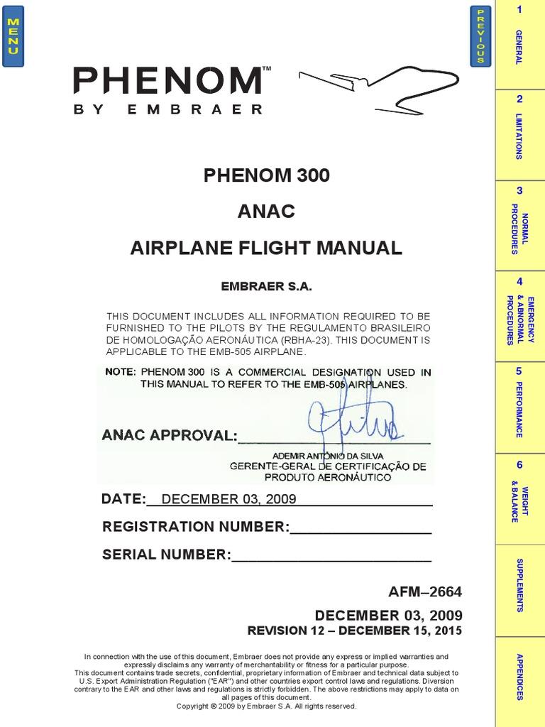 phenom 300 airplane flight manual