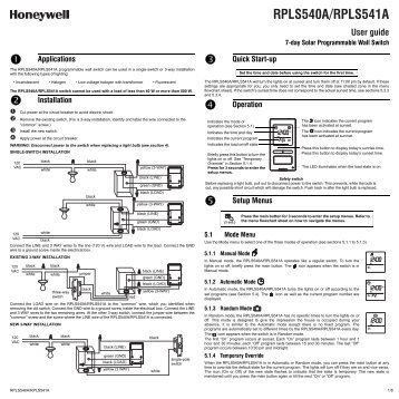 honeywell light switch timer instruction manual