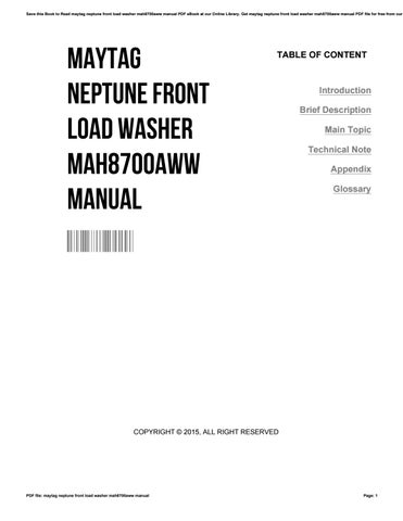 maytag neptune washer manual pdf