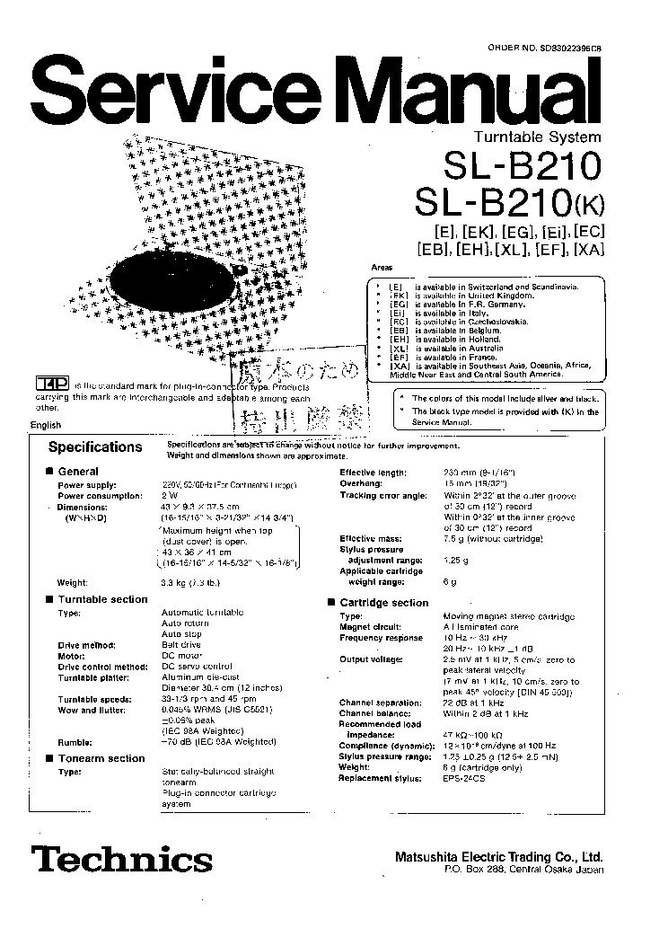 technics sl 7 service manual