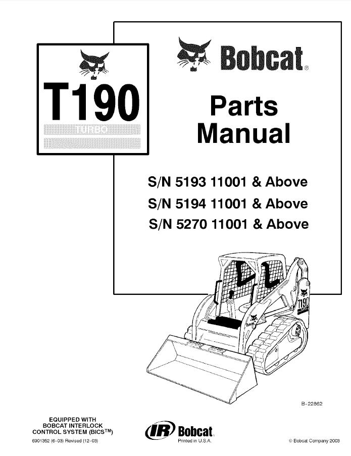 bobcat skid steer parts manual