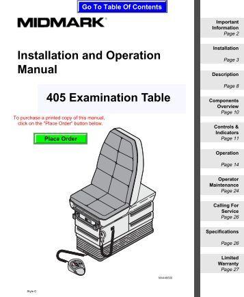 ritter 104 exam table manual