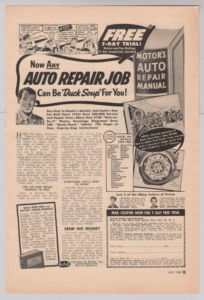 vintage auto literature and manuals