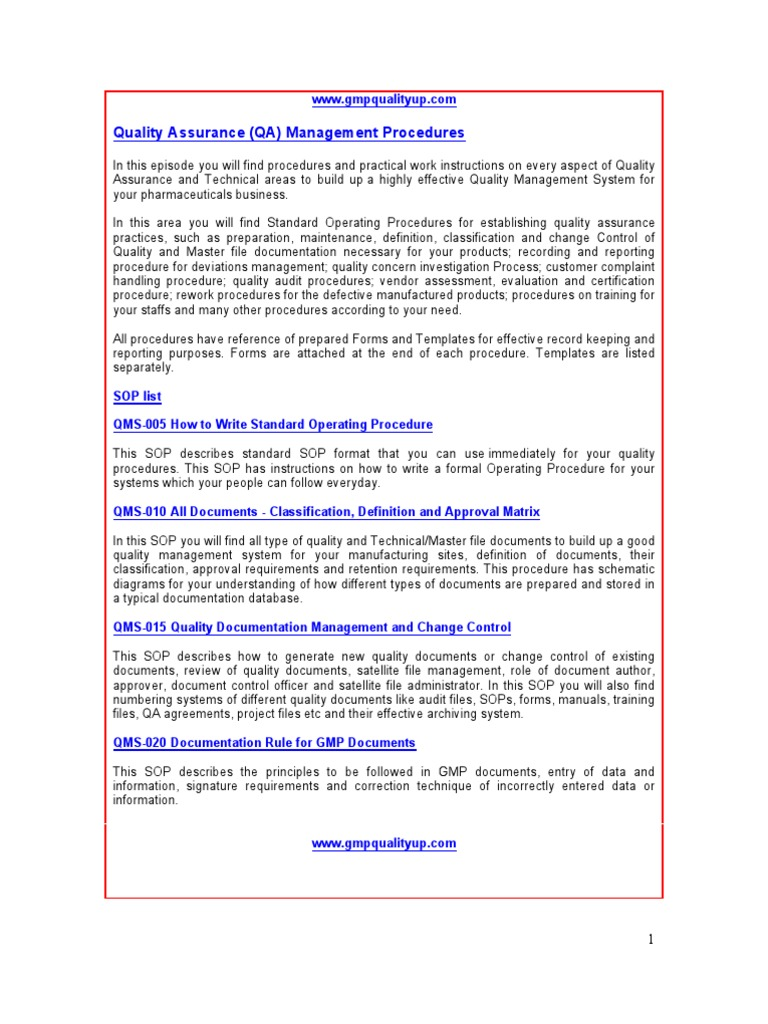 quality assurance quality control manual free download