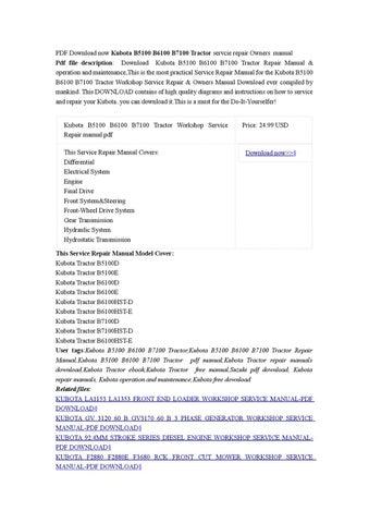 kubota b7100 service manual pdf