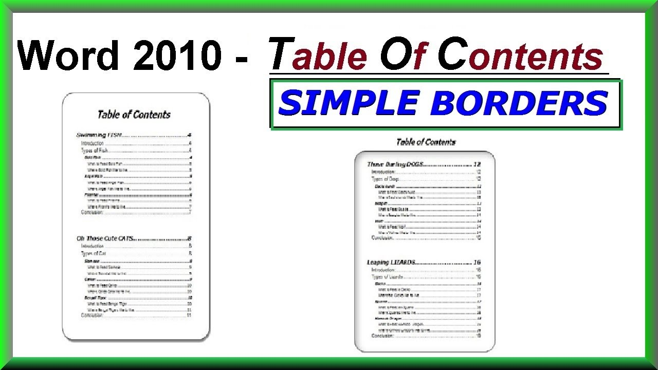word 2013 manual table of contents