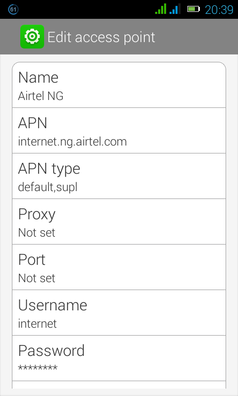 airtel manual configuration for android