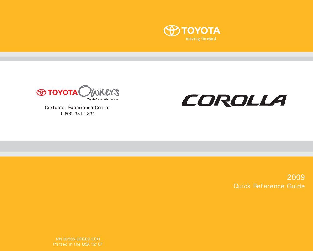 2009 toyota corolla owners manual