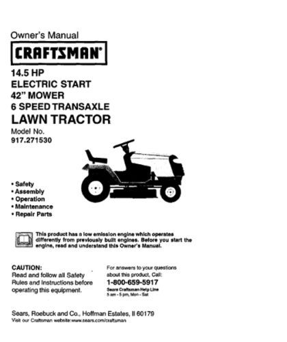 craftsman 11 hp riding mower manual