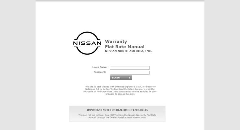 nissan warranty flat rate manual