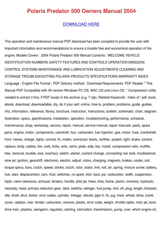 polaris predator 500 repair manual free download